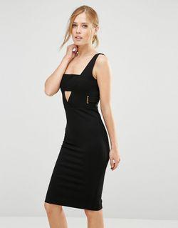 Платье Миди С Вырезами Toya Черный FOREVER UNIQUE                                                                                                              черный цвет