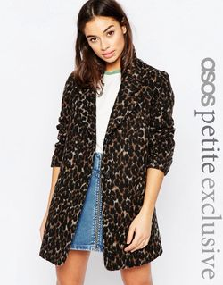 Пальто С Леопардовым Принтом Мульти ASOS PETITE                                                                                                              многоцветный цвет
