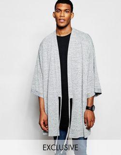 Кимоно С Завязкой Спереди Серый Reclaimed Vintage                                                                                                              серый цвет