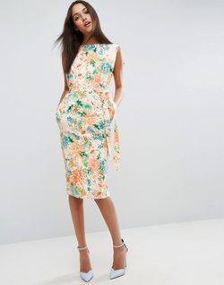 Платье Миди С Ремнем И Цветочным Принтом Asos                                                                                                              многоцветный цвет
