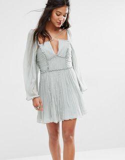 Плиссированное Платье С Бретелями Aquarius Мятный 3315 Free People                                                                                                              Мятный 3315 цвет