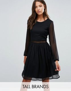 Long Sleeve Dress With Lace Insert Черный Y.A.S Tall                                                                                                              None цвет