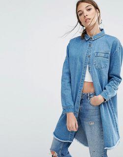 Джинсовая Куртка-Рубашка Свободного Кроя С Необработанным Подолом Daisy Street                                                                                                              None цвет