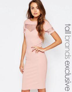 Облегающее Платье В Рубчик С Кружевной Вставкой Paper Dolls Tall                                                                                                              Blush цвет