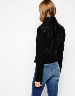 Байкерская Куртка Со Вставками Из Искусственной Кожи Asos                                                                                                              чёрный цвет