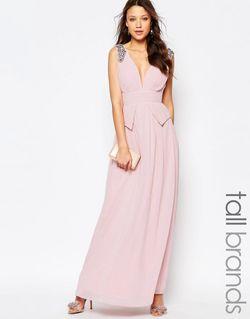 Платье Макси С Баской На Талии Глубоким Little Mistress Tall                                                                                                              розовый цвет
