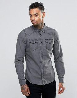 Светлая Джинсовая Рубашка В Стиле Вестерн New-Sonora-E Diesel                                                                                                              серый цвет