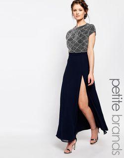 Платье Макси С Открытой Спинкой Темно-Синий Maya Petite                                                                                                              синий цвет
