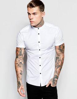 Белая Рубашка Скинни С Контрастными Пуговицами И Asos                                                                                                              белый цвет
