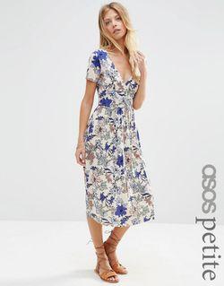 Платье Миди С Запахом Складками И Цветочным ASOS PETITE                                                                                                              многоцветный цвет