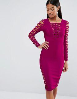 Облегающее Платье С Вырезами Wine WOW Couture                                                                                                              None цвет
