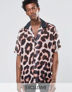 Рубашка С Отложным Воротником И Леопардовым Принтом Reclaimed Vintage                                                                                                              None цвет