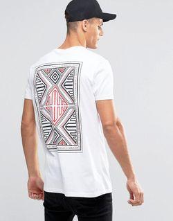 Длинная Футболка С Ацтекским Принтом Сзади Белый Asos                                                                                                              белый цвет