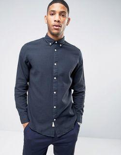 Рубашка Из Ткани Пике На Пуговицах Selected Homme                                                                                                              синий цвет