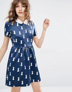Платье С Принтом Котов Sister Minette Морской Paul & Joe                                                                                                              синий цвет