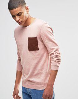 Хлопковый Джемпер С Накладным Карманом Розовый Asos                                                                                                              розовый цвет