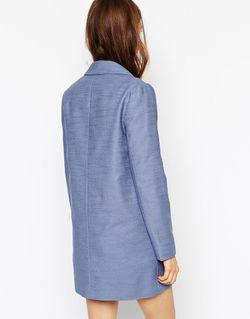 Двубортное Пальто-Бушлат Asos ASOS Collection                                                                                                              синий цвет