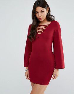 Платье Со Шнуровкой Wine AX Paris                                                                                                              Wine цвет