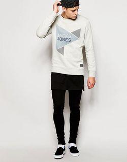 Свитшот С Треугольниками И Логотипом Jack Jones Jack & Jones                                                                                                              белый цвет