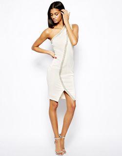 Облегающее Платье С Отделкой Жемчугом Кремовый Asos                                                                                                              Кремовый цвет