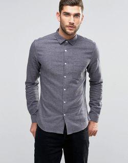 Серая Меланжевая Рубашка Скинни С Длинными Рукавами Asos                                                                                                              серый цвет