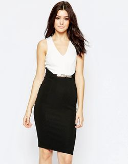 Монохромное Платье Миди 2 В 1 Черный Lipsy                                                                                                              черный цвет
