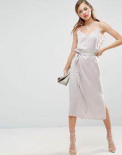Платье-Сорочка Миди С Поясом Серый Asos                                                                                                              серый цвет
