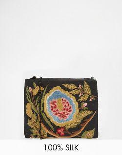 Черная Сумка Через Плечо С Цветочной Вышивкой Moyna                                                                                                              чёрный цвет