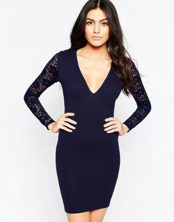 Облегающее Платье Со Спинкой И Рукавами Из Club L                                                                                                              синий цвет