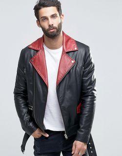 Черная Кожаная Байкерская Куртка С Поясом И Asos                                                                                                              черный цвет