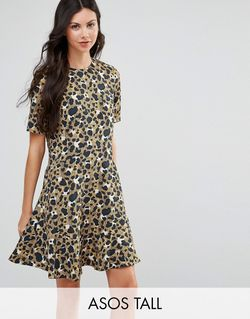 Drop Waist Dress In Animal Print Мульти ASOS TALL                                                                                                              None цвет