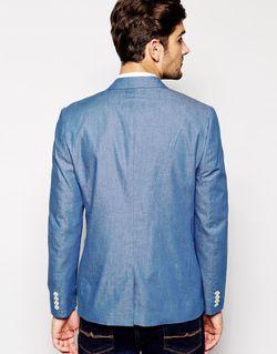 Узкий Блейзер Из Ткани Шамбре Asos                                                                                                              синий цвет