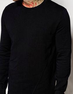 Свитшот Асимметричной Длины С Необработанным Краем Asos                                                                                                              чёрный цвет