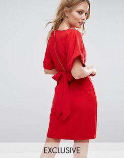 Платье Миди С Завязкой Сзади И Разрезом Closet London                                                                                                              красный цвет