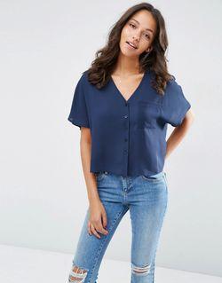 Укороченная Блузка С Vобразным Вырезом Темно-Синий Asos                                                                                                              синий цвет