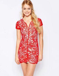 Кружевное Платье-Футляр Красный Glamorous                                                                                                              красный цвет