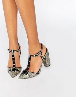 Блестящие Туфли На Каблуке С Тобразным Ремешком Little Mistress                                                                                                              золотой цвет