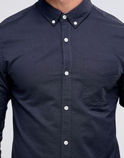 Premium Long Sleeve Oxford Shirt Jack & Jones                                                                                                              синий цвет