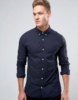 Premium Long Sleeve Oxford Shirt Jack & Jones                                                                                                              синий цвет
