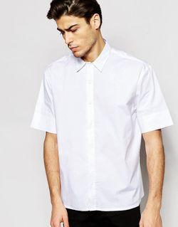 Oversize-Рубашка С Короткими Рукавами Белый ADPT                                                                                                              белый цвет
