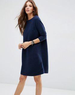 Свободное Фактурное Платье Темно-Синий Asos                                                                                                              синий цвет