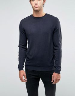 Crew Neck Jumper In Navy Темно-Синий Asos                                                                                                              None цвет