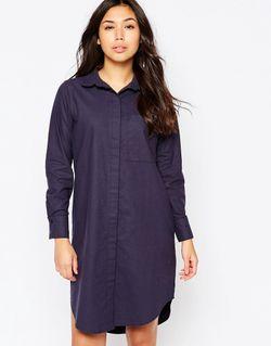 Платье-Рубашка В Стиле Оversize Из Выбеленного Хлопка Native Youth                                                                                                              синий цвет