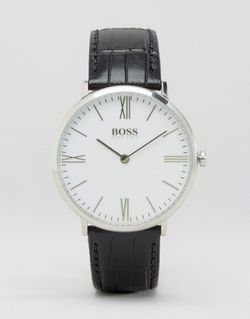 Часы С Черным Кожаным Ремешком И Белым HUGO BOSS                                                                                                              чёрный цвет