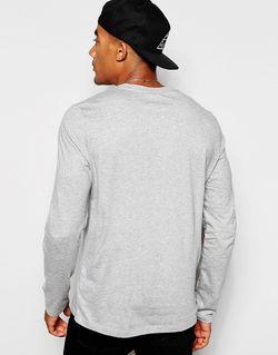 Меланжевый Серый Лонгслив С Глубоким V-Образным Вырезом Asos                                                                                                              серый цвет