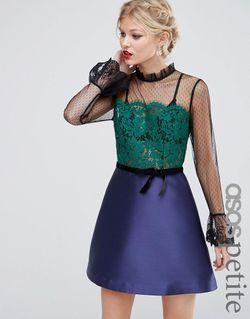 Платье Мини С Кружевной Отделкой Pie Crust ASOS PETITE                                                                                                              многоцветный цвет