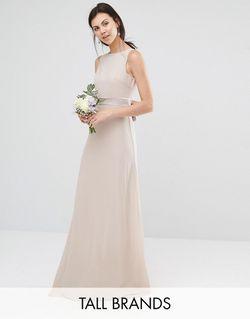 Платье Макси С Атласным Бантом Сзади Wedding TFNC Tall                                                                                                              розовый цвет