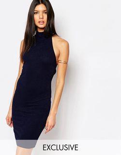 Платье Миди Из Крепа С Высоким Воротом Club L                                                                                                              синий цвет