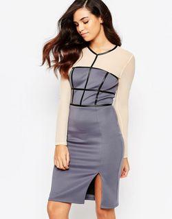 Платье-Футляр С Сетчатыми Рукавами Paige Фиолетовый Amy Childs                                                                                                              фиолетовый цвет
