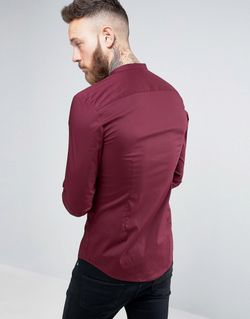 Бордовая Супероблегающая Рубашка С Воротником На Пуговицах Asos                                                                                                              красный цвет